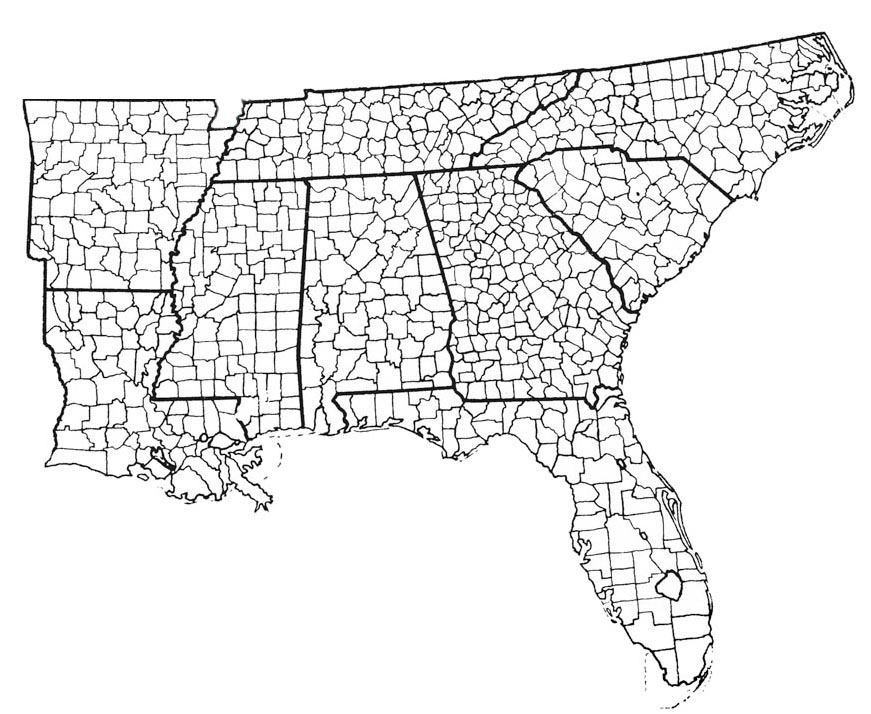 Free Printable Maps Of The Southeastern Us Southeastern Us County Map Us